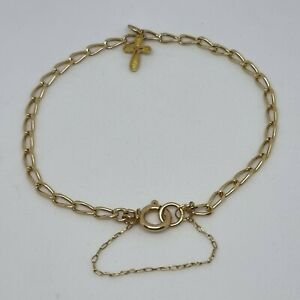 9ct Yellow Thin Curb Chain With Cross Pendant Charm Bracelet Hallmarked