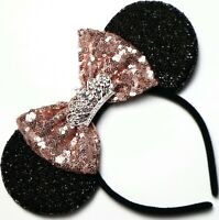 Rose Gold Minnie Mouse ears headband- Holiday Minnie- Disneyland-Disney HANDMADE
