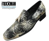 Mens Slip On Dress Shoe TUXXMAN Loafers Gold Sequins Fashion Discount SALE