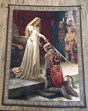 """Sir Lancelot & Queen Guinevere Contemporary High Quality Tapestry Weaving 39.5"""""""