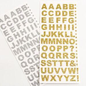 15mm Alphabet & Number Glitter / Diamante Self Adhesive Craft Stickers