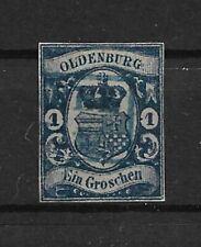 AD Oldenburg 1861, 1 Groschen dunkelblau, MiNr. 12c, gest., Attest BPP