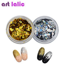 2 Pcs Gold Silver Color Broken Mirror Shell Glass Paper Foil Icy Nail Art Decor
