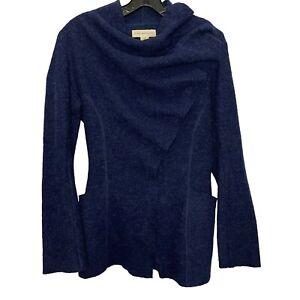 Gro Abrahamsson Anthropologie Sweater Sz XS Womens 100% Wool, Pockets, Blue