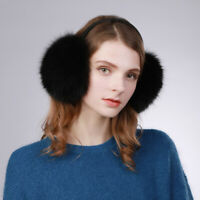 Thick 100% Real Vulpes lagopus Fox Fur Earmuffs Warm Fashion Large Women Winter