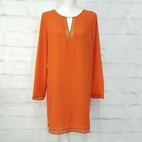 Michael Kors Poppy Orange Lace Long Sleeve Shift Dress L Large