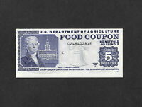 Food Stamp Coupon 1982 A C2480281E M/C K $5.00  SCRIP US Dept Of Agriculture