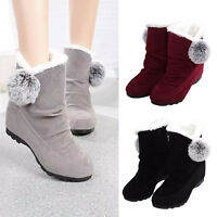 Women's Winter Casual Ankle Snow Boots Warm Faux Fur Ball Flats Suede Shoes