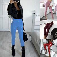 Women's Leather PU Wet Look Trousers High Waist Skinny Leggings Sweetpants Gym