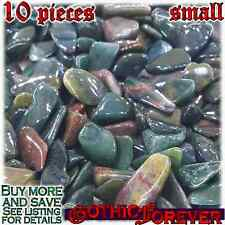 10 Small 10mm Combo Ship Tumbled Gem Stone Crystal Natural - Jasper Fancy Green