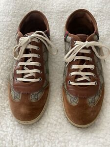 mens suede/logo gucci sneakers-size 9 1/2 (fits US mens size 10 1/2