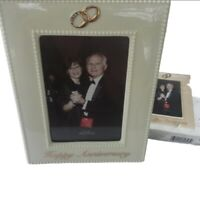 Happy Anniversary Photo Frame By Russ Berrie Rings Holds 4 X 6 Photo Cream Tone