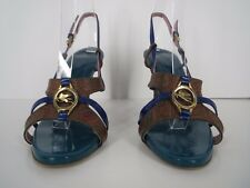 ETRO Sandals Paisley Leather Brown Blue Patent Heels Strappy Italy Size 7.5 37.5