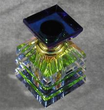 Pyramid Perfume Essential Oil Vitrail Rainbow Multi Color Cut Glass Bottle