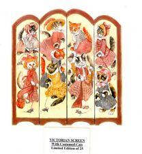 "1"" scale Natasha Beshenkovsky's Mini Decoupage-Victorian Screen W/Costumed Cats"