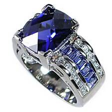 *SPECTACULAR TANZANITE simulated BRILLIANT CZ RING_SZ-9__925 Sterling Silver
