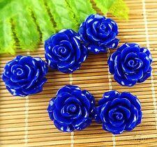 6pcs Beautiful unique royal blue Giant clam carved flower pendant bead JC873