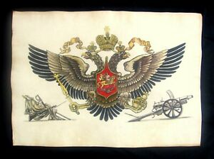 Antique Russian Painting Imperial Double Headed Eagle Romanov Empire Rare!!!