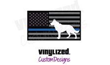 2x Back THIN BLUE LINE K9 Flag LEO Canine Subdued Sticker Decal Police K-9 TBL