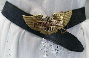 ❤️vintage❤️ HARLEY DAVIDSON MOTOR CYCLE black leather metal eagle buckle belt