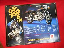 Suzuki Vintage 1979 GS-750E GS750 Brochure Specification Original Motorcycle