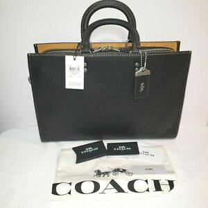 NWT COACH 11104 Rogue Briefcase Business Bag in Black Glovetanned Pebble Leather