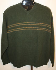 Mens Abercrombie & Fitch Olive Green Lambswool V-Neck Sweater Size L