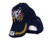 Dark Navy Blue Screaming Eagle USA US America American Baseball Cap Hat (RAM)