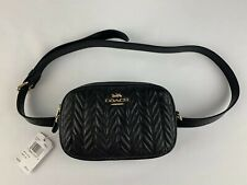 NWT Coach  F73384 Convertible Belt Bag Quilted Calf Leather Black $298