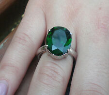 925 sterling silver rings,12mmx16mm oval Emerald  stone cubic zirconia size N1/2