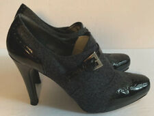 Stewart Weitzman Sz 8 M Gray & Patent Leather Pumps Heel Shoes Made In Spain EUC