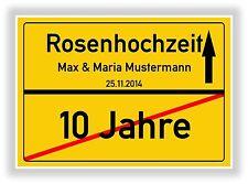 Ortsschild - Bild - Rosenhochzeit - Hochzeitstag 10 Jahre - Geschenk - Jubiläum