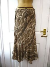 GEORGE Ladies Size 12 Brown Animal Print Pull On Asymmetric Hem Maxi Skirt NEW