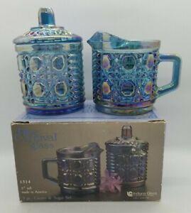 Vintage Indiana Glass Windsor  Blue Carnival Creamer and Sugar Lid Original Box
