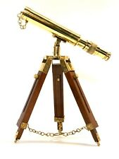 "Marine Navy Nautical Brass Telescope With Wooden Tripod Stand 10""s"