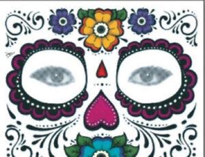 Gesicht tattoo temporary face temporär Totenkopf Fasching Halloween Maske Fun 12
