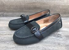 UGG Gwynith Mocassin Belted Loafers Women's 5/36 Black Suede Leather Dress Shoes