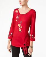 Ny Collection Womens Red Embroidered Tie Front Top Shirt Size Small - $50 - NWT