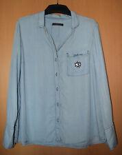 Bluse Jeanshemd von Mango Violetta Gr. S 40/42 hellblau Lyocell mit Patch  NEU