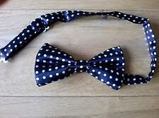 BOWTIE ADULT ADJUSTABLE POLYESTER BLACK AND WHITE SPOTTED (BRAND NEW) BOW TIE
