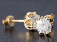 3.50Ct Round Cut Diamond Solitaire Stud Earring 14K Real Yellow Gold Finish