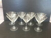 "7 VINTAGE MCM Noritake Cut Crystal BAMBOO Cocktail MARTINI Glasses 4""Tx3""D"