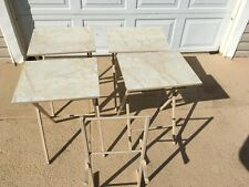 Folding Snack Table Set  5 Piece Formica Top Marble Pattern