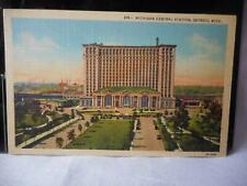 Antique POSTCARD MICHIGAN CENTRAL TRAIN STATION Detroit