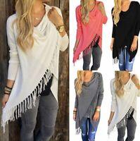 Women Tassel Loose Knitted Cardigan Irregular Poncho Shawl Coat Jacket Sweater U