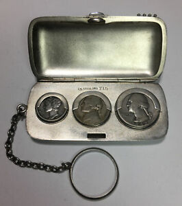 Antique Watrous Mfg Co Sterling Silver Triple Sovereign Case Coin Holder