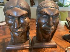 Vintage artist FLORES ARIAS carved wood Indian SCULPTURES Busts