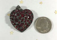 CRYSTAL Heart RED Pendant Charm Dark Silver Metal NEW Fashion Jewelry Large