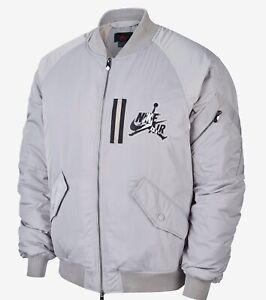 $250 New Men's Nike Air Jordan Wings MA-1 Bomber Jacket~Grey~AV2598-059~ Large