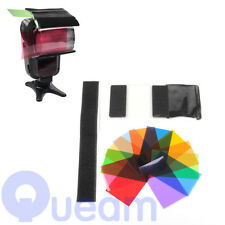 12 Pcs Camera Cam Strobist Flash Color Card Diffuser Light Gel Pop Up Filter